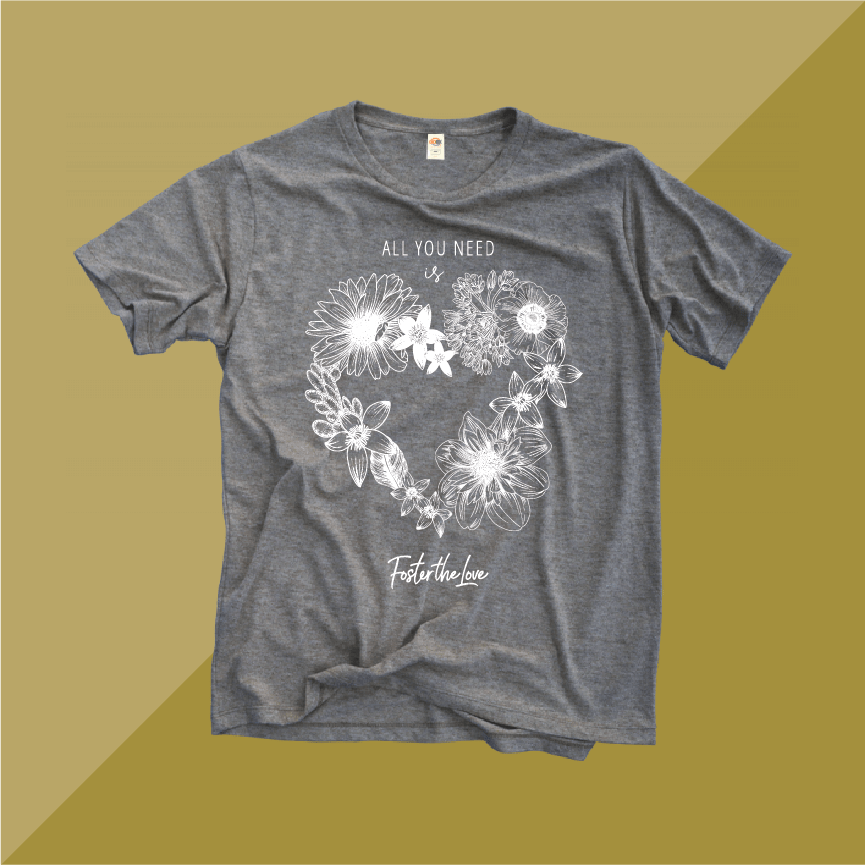 All You Need Is Love short sleeve t-shirt in heather gray, benefitting Foster The Love Louisiana